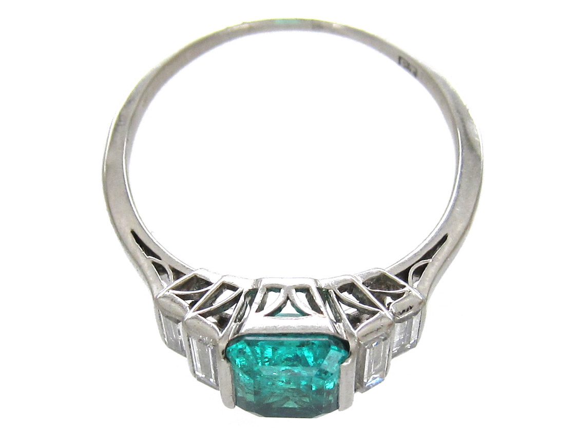 Art Deco Emerald Amp Diamond Baguette Ring The Antique