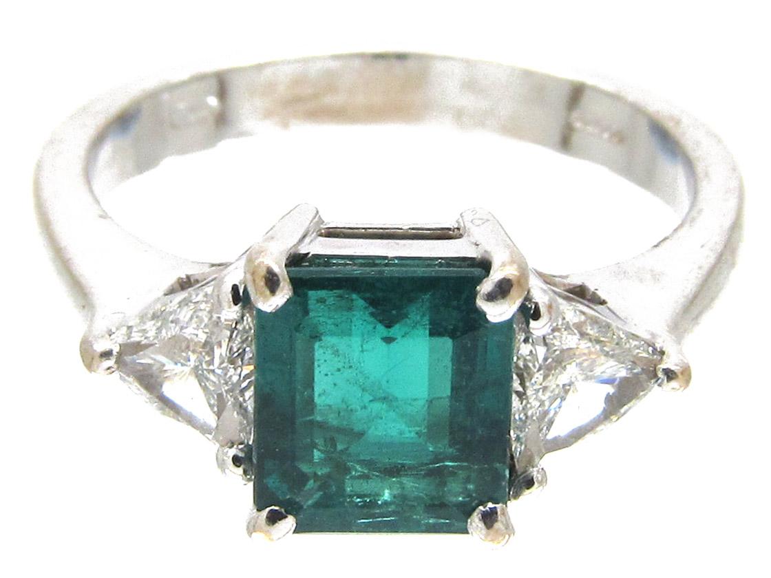 Square Cut Emerald Amp Diamond Ring The Antique Jewellery