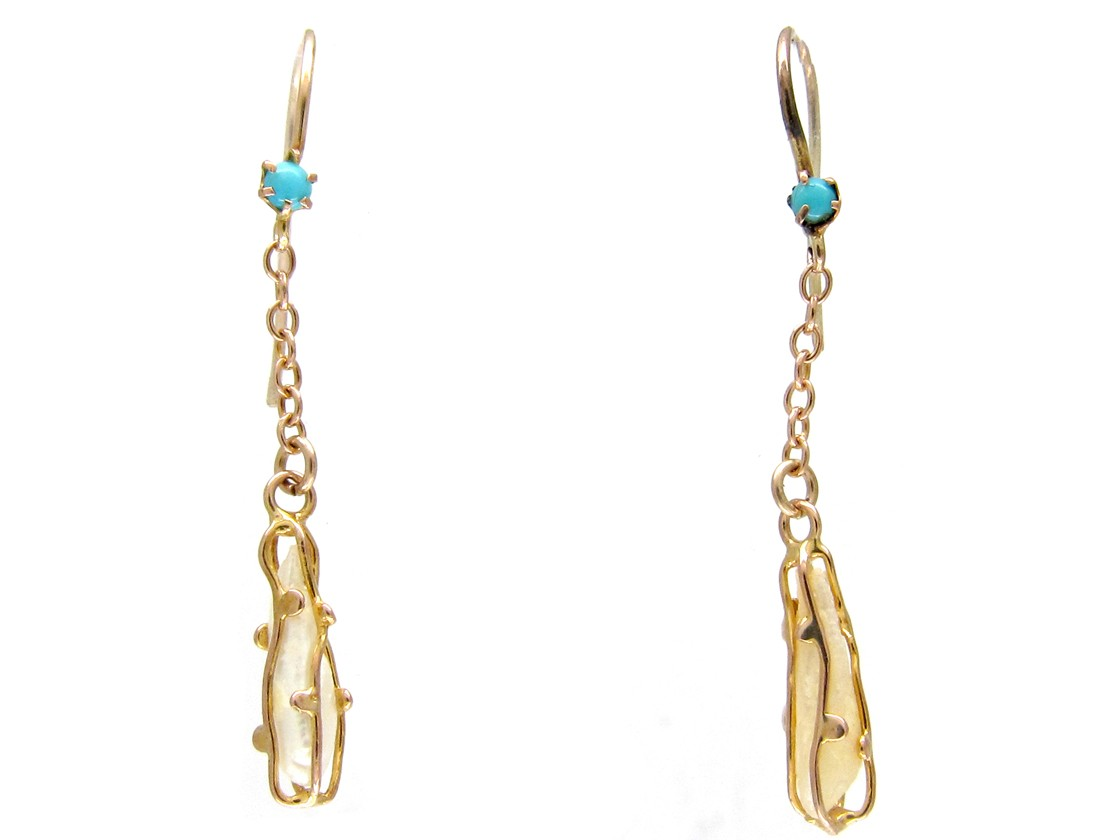 Art Nouveau 9ct Gold Caged Pearl Turquoise Earrings