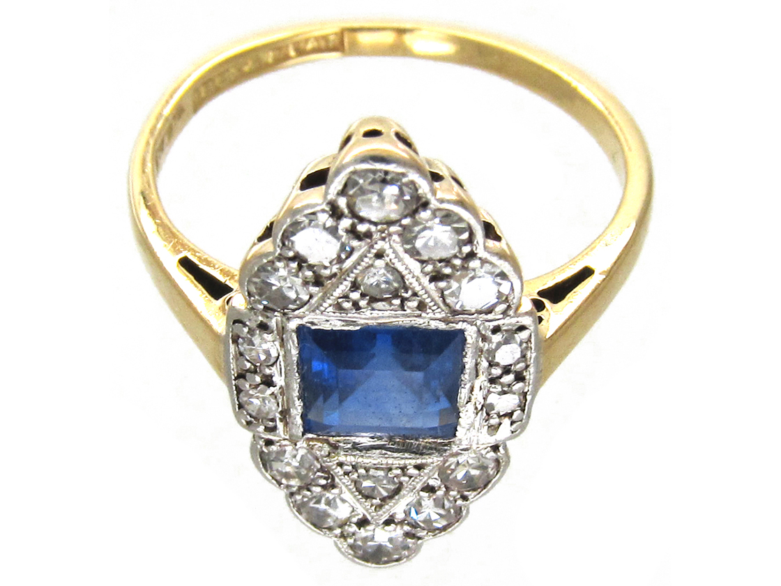 Art Deco Sapphire Amp Diamond Marquise Ring The Antique