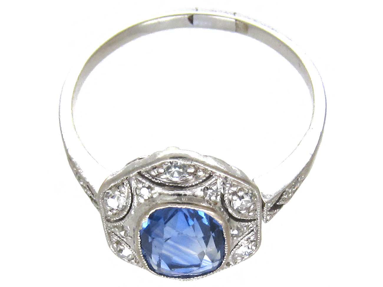 Art Deco Ceylon Sapphire Amp Hexagonal Diamond Ring The