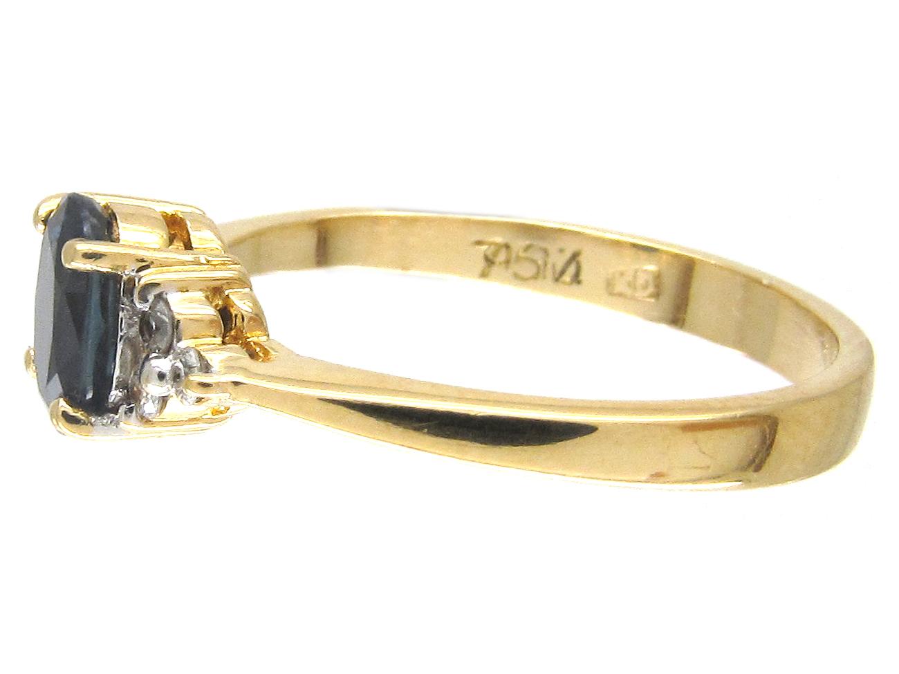 solitaire sapphire diamond shoulders ring the antique. Black Bedroom Furniture Sets. Home Design Ideas
