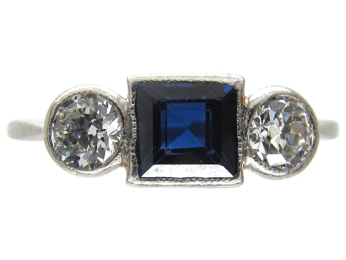 Art Deco Three Stone Square Sapphire Amp Diamond Ring The