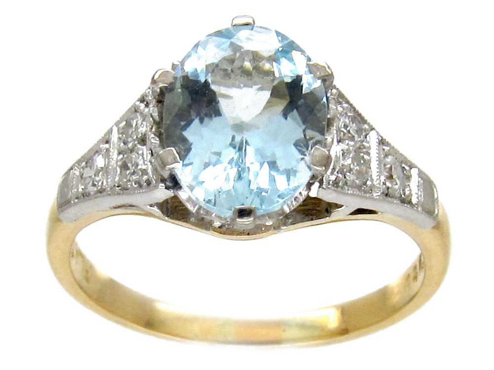 Art Deco Aquamarine Amp Diamond Ring The Antique Jewellery