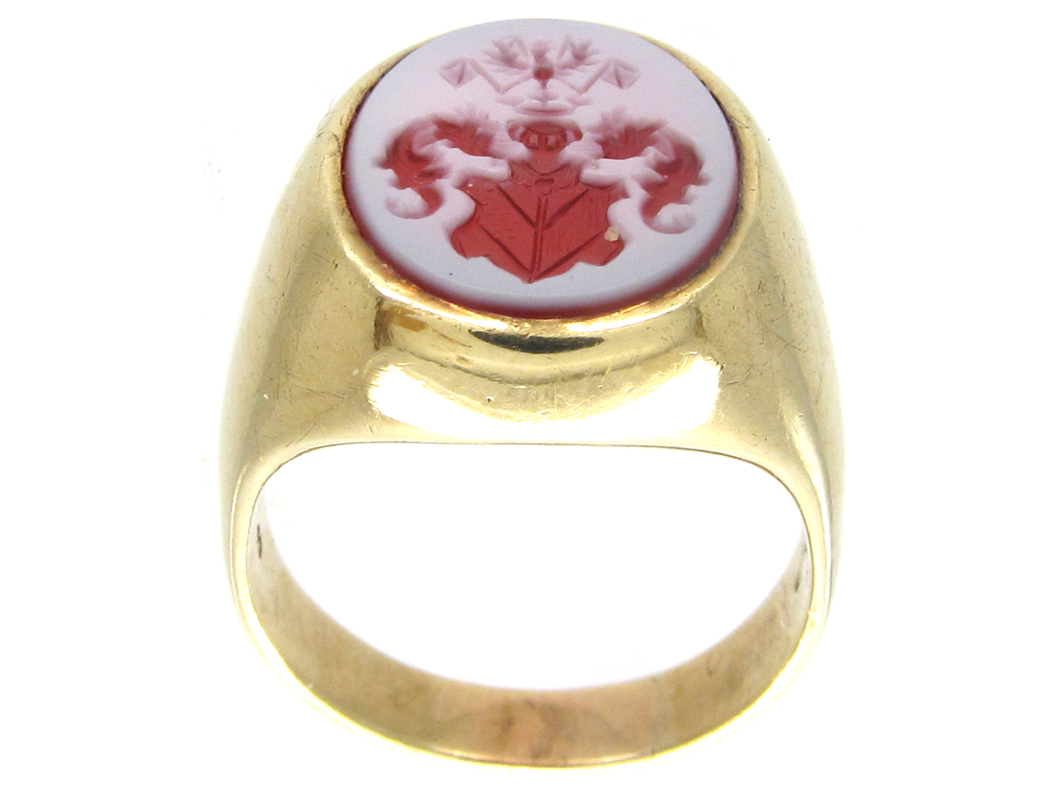 14ct Gold Amp Carnelian Crested Intaglio Signet Ring The