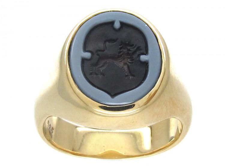 Sardonyx Griffin Intaglio Gold Signet Ring The Antique