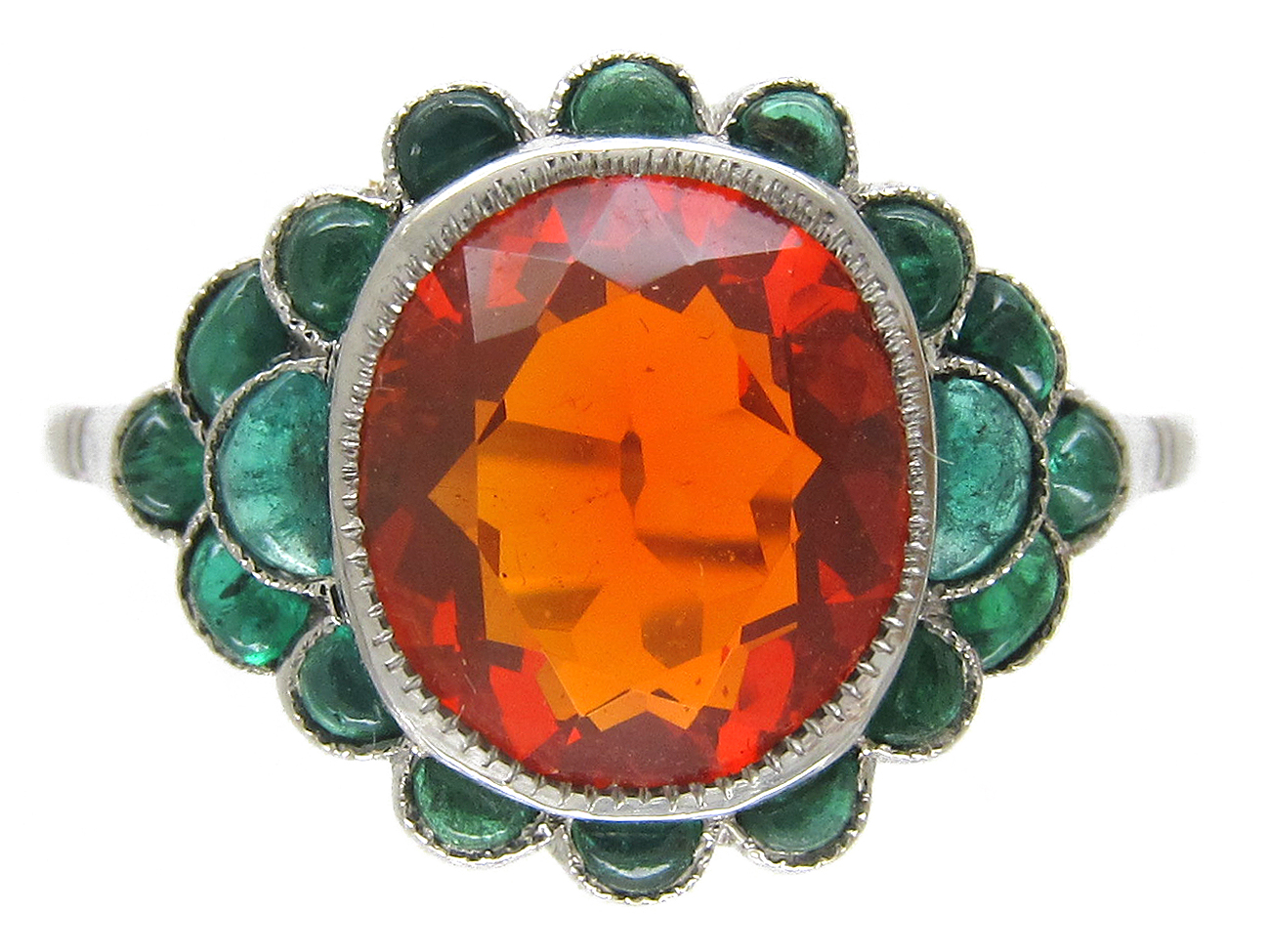 Edwardian Fire Opal Amp Carved Cabochon Emerald Ring The