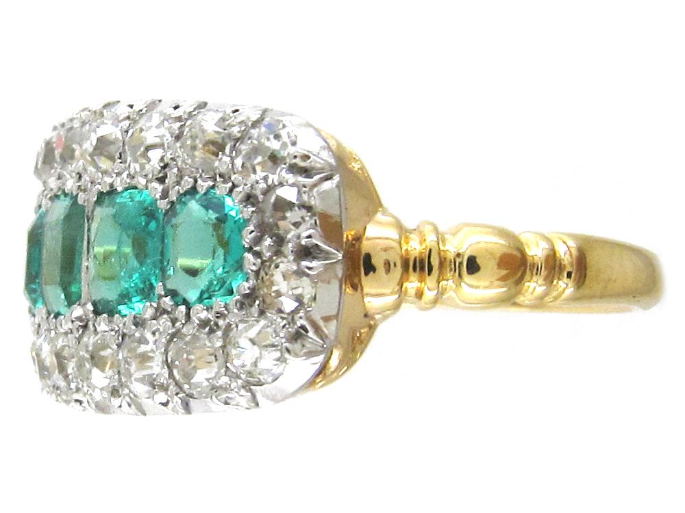 Edwardian Emerald Five Stone Amp Diamond Boat Shaped Ring