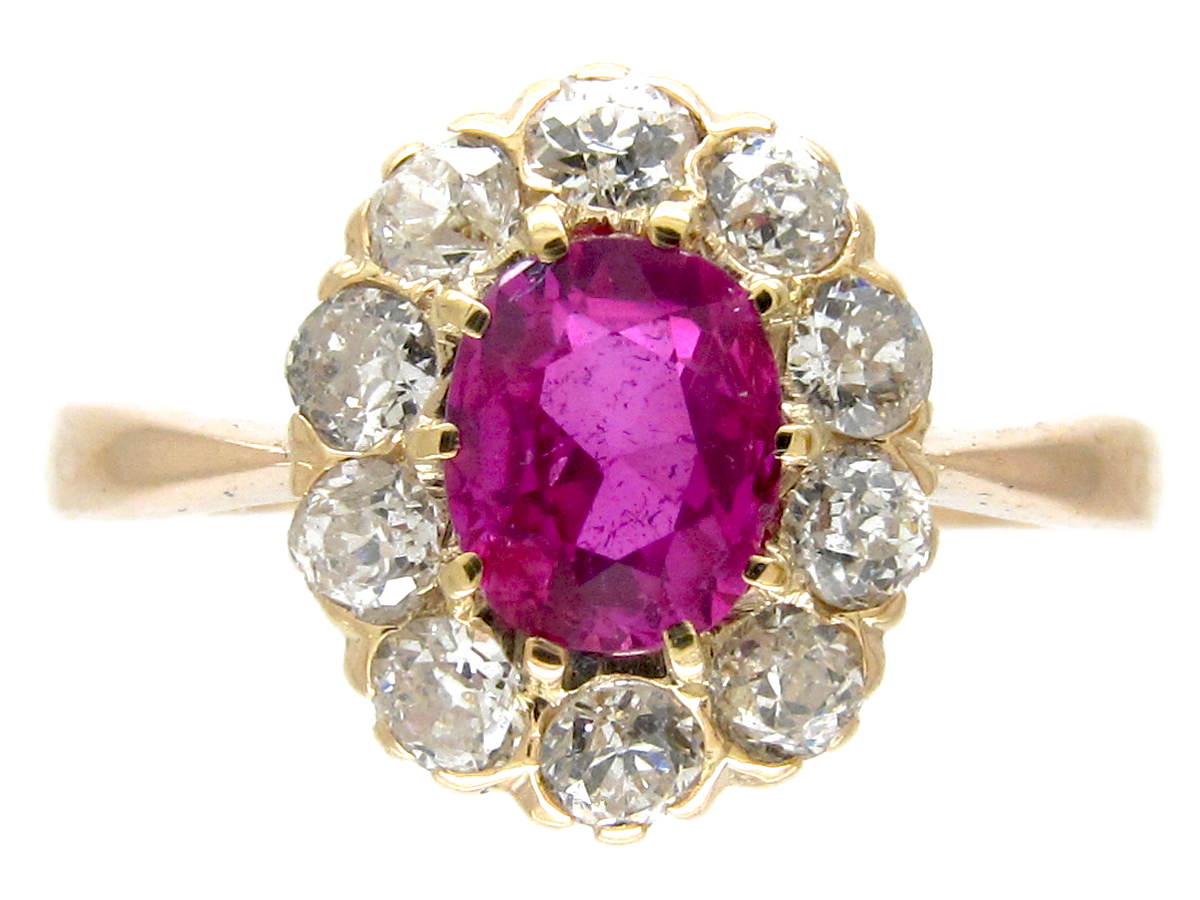 Edwardian Ruby Amp Diamond Cluster Ring The Antique