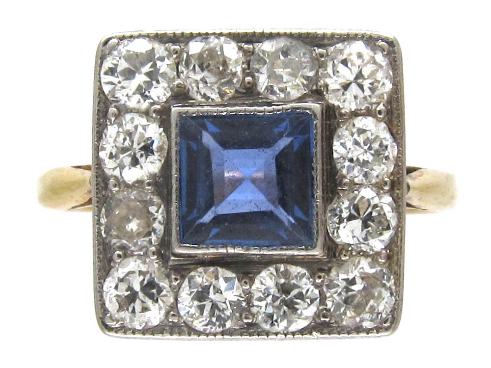 Art Deco 18ct Gold Amp Platinum Square Sapphire Amp Diamond