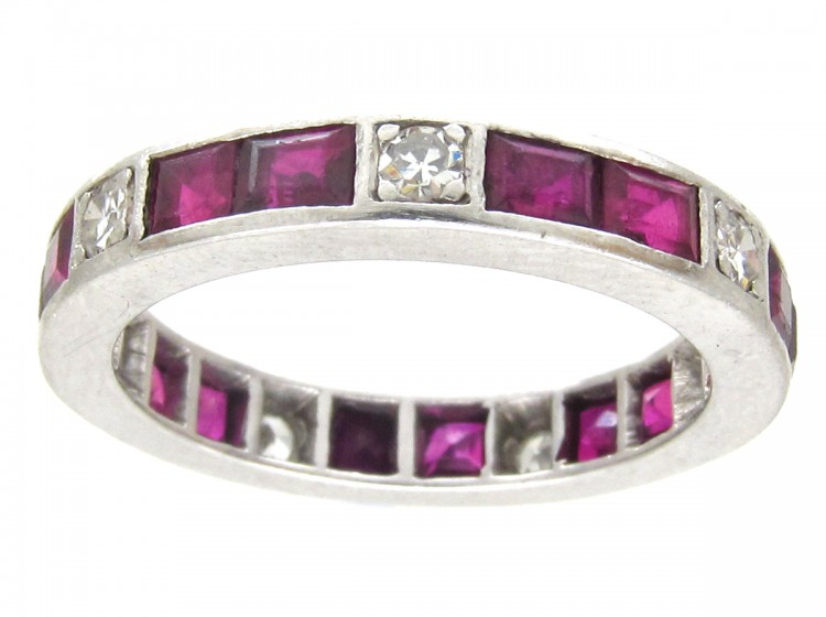 deco platinum ruby eternity ring the