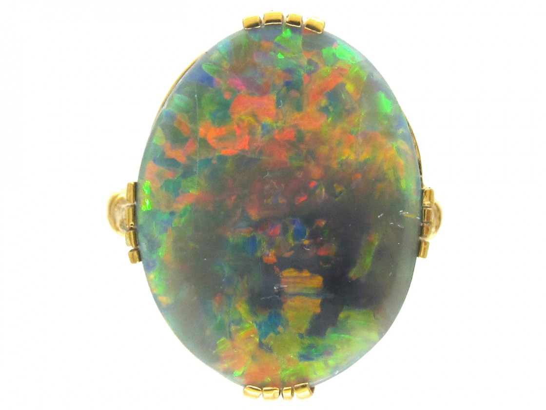 18ct Gold Large Oval Black Opal Ring The Antique