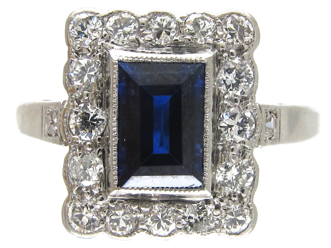 Art Deco Platinum Sapphire Amp Diamond Rectangular Ring