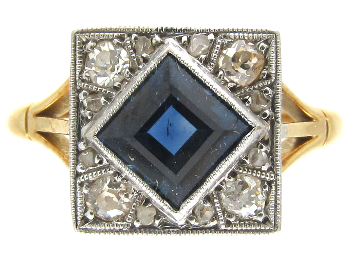 18ct platinum art deco sapphire diamond square ring the antique jewellery company. Black Bedroom Furniture Sets. Home Design Ideas