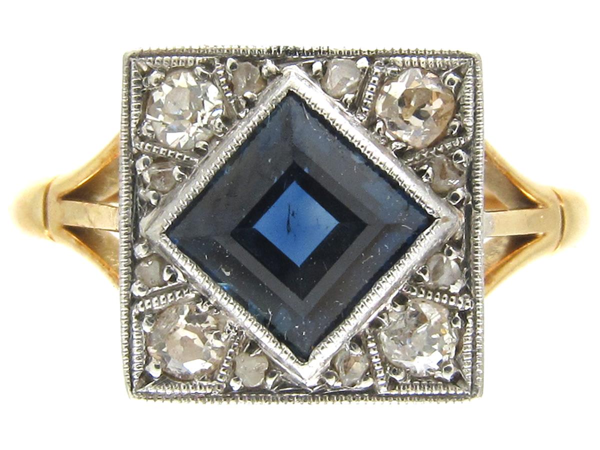 18ct Amp Platinum Art Deco Sapphire Amp Diamond Square Ring