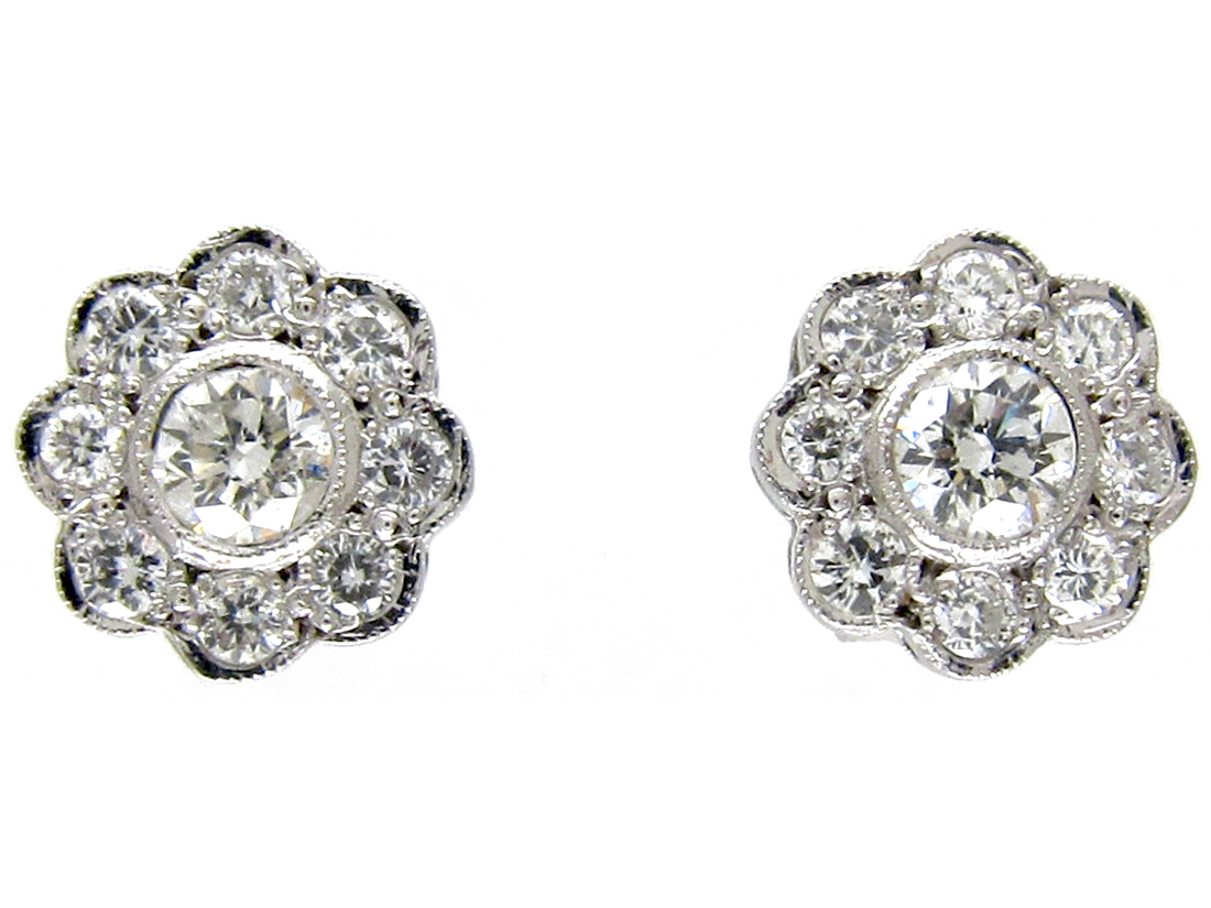 18ct White Gold Diamond Daisy Cer Earrings