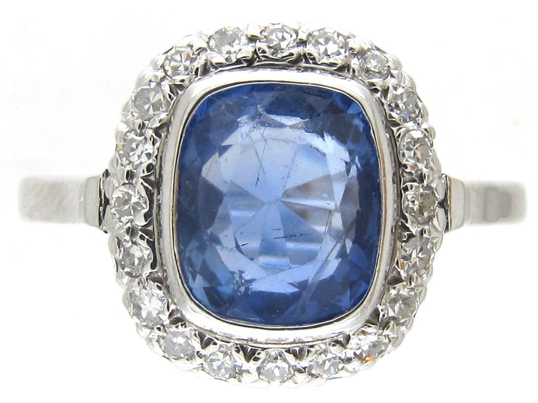 18ct white gold rectangular ceylon sapphire diamond ring for Man made sapphire jewelry