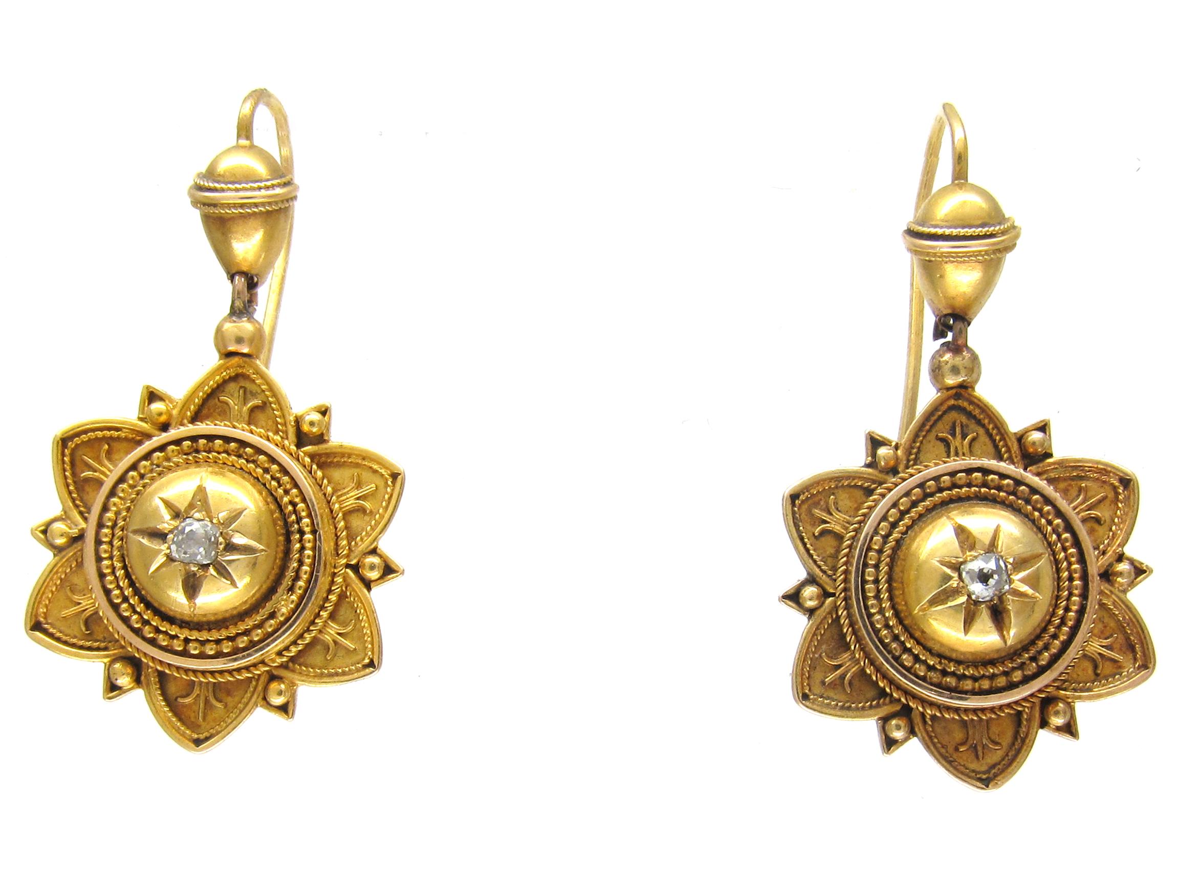 Victorian 18ct Gold Etruscan Design Amp Diamond Set Earrings