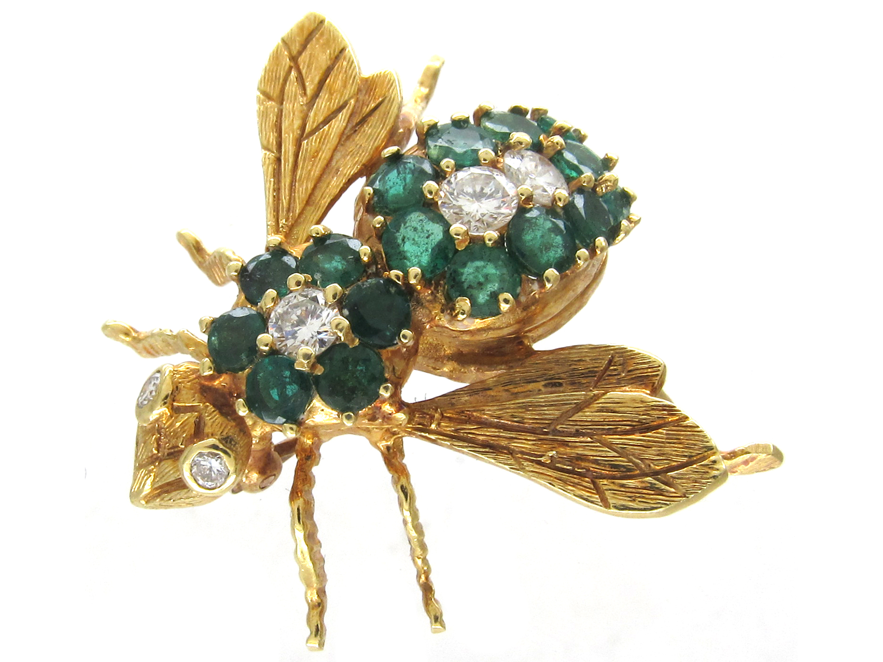 Emerald Amp Diamond 18ct Gold Bee Brooch The Antique
