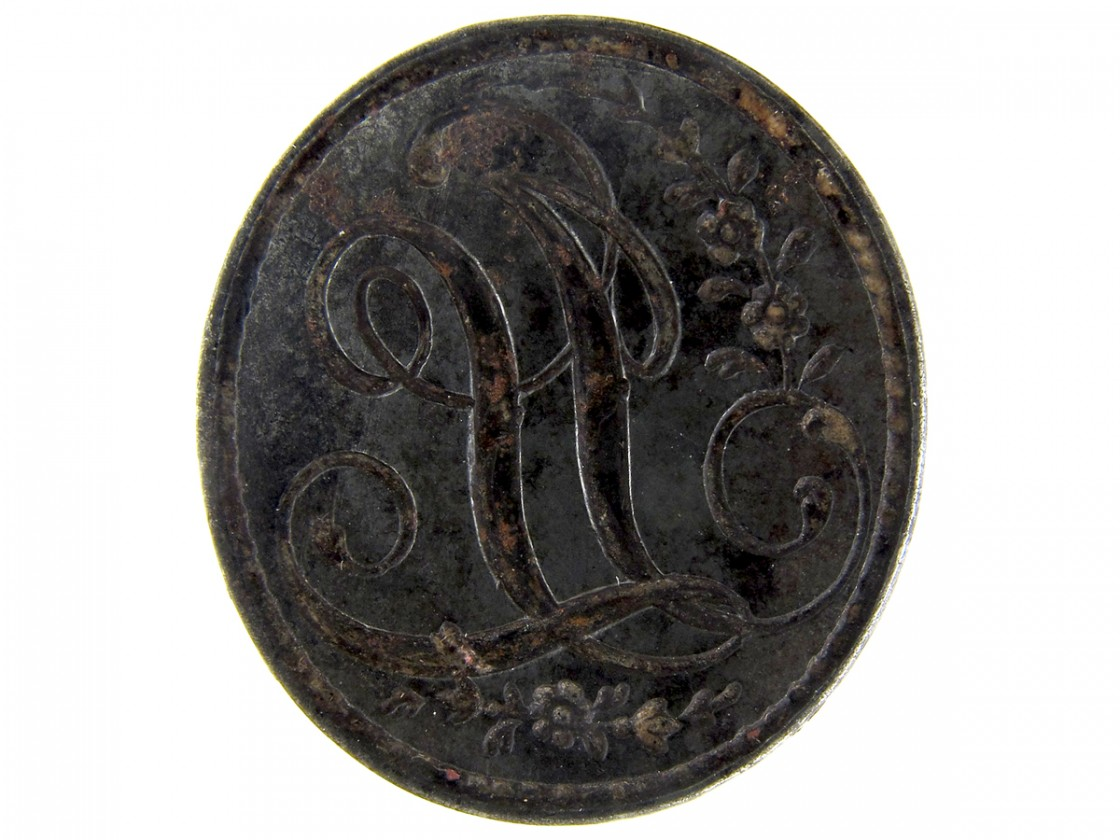 georgian steel seal with h monogram