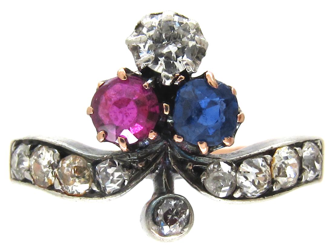 Art Nouveau Sapphire Diamond Amp Ruby Trefoil Ring The