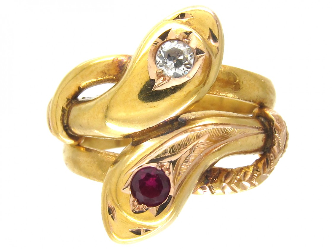 18ct Gold Double Snake Ring Set With A Ruby Amp Diamond