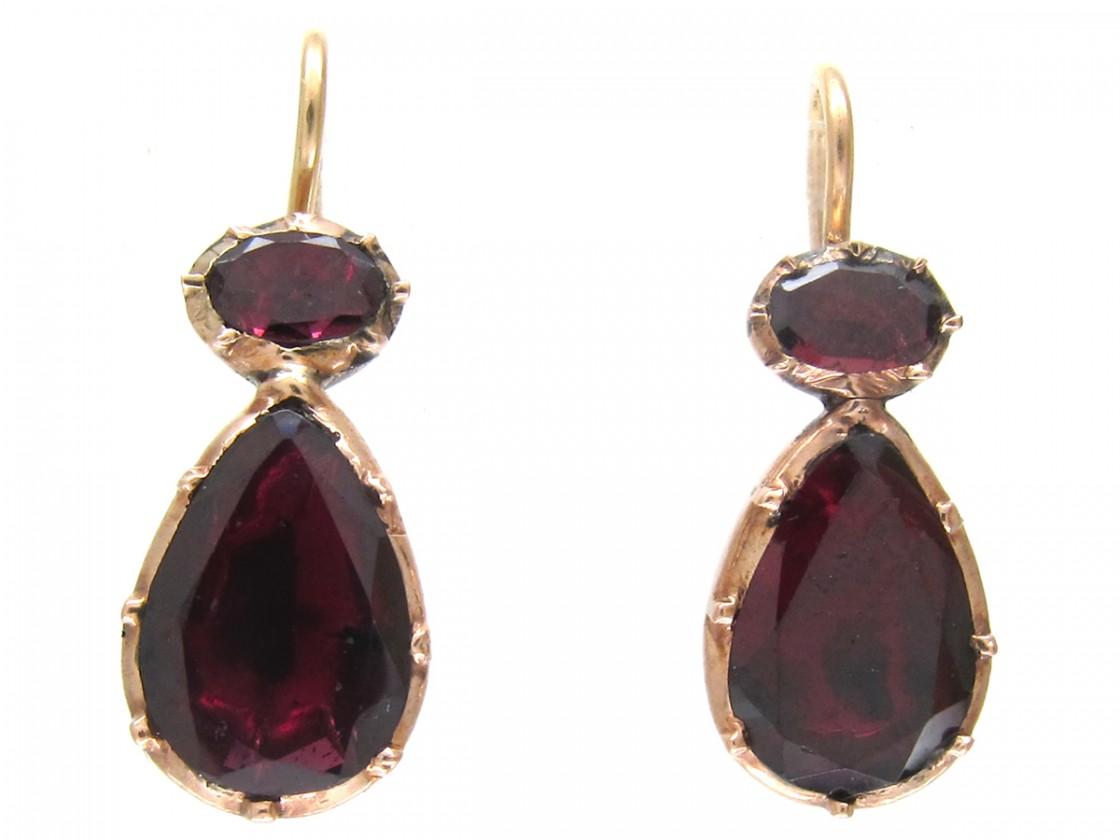 Georgian Flat Cut Garnet Earrings