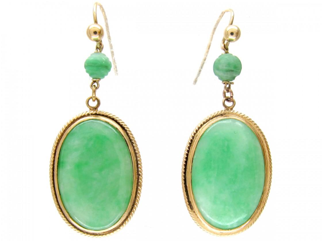 Oval 18ct Gold Jade Drop Earrings