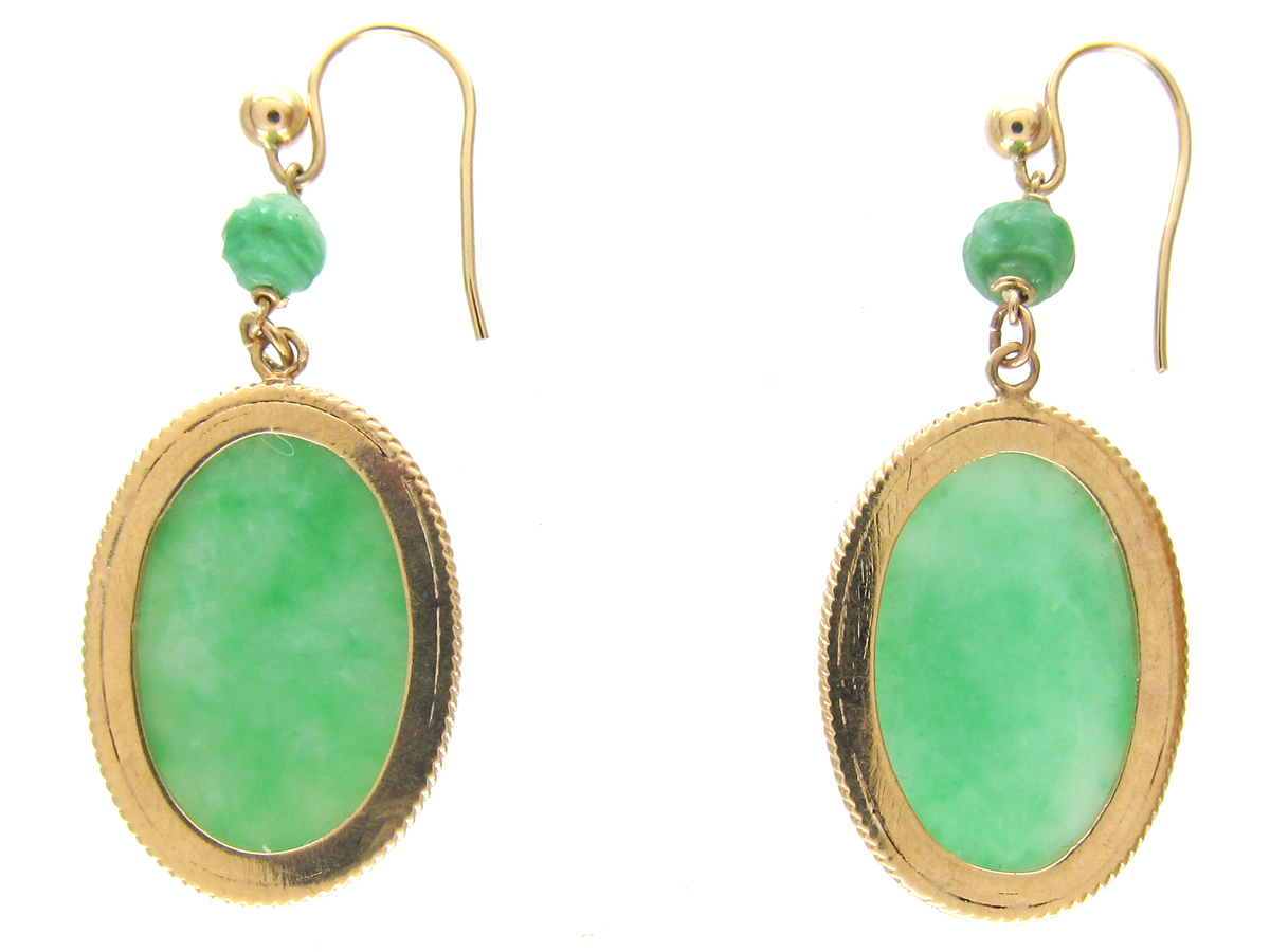 Oval 18ct Gold Amp Jade Drop Earrings The Antique