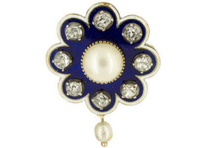 Edwardian 15ct Gold Royal Blue Enamel, Diamond & Natural Pearl Brooch