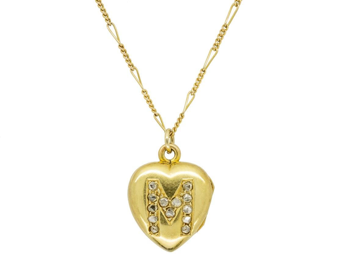 18ct Gold Edwardian Heart Locket Set With The Letter M In Diamonds On A Chain