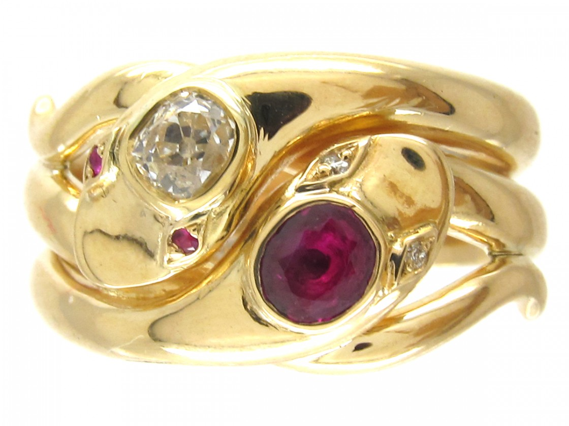Victorian 18ct Gold Ruby Amp Diamond Double Snake Ring The