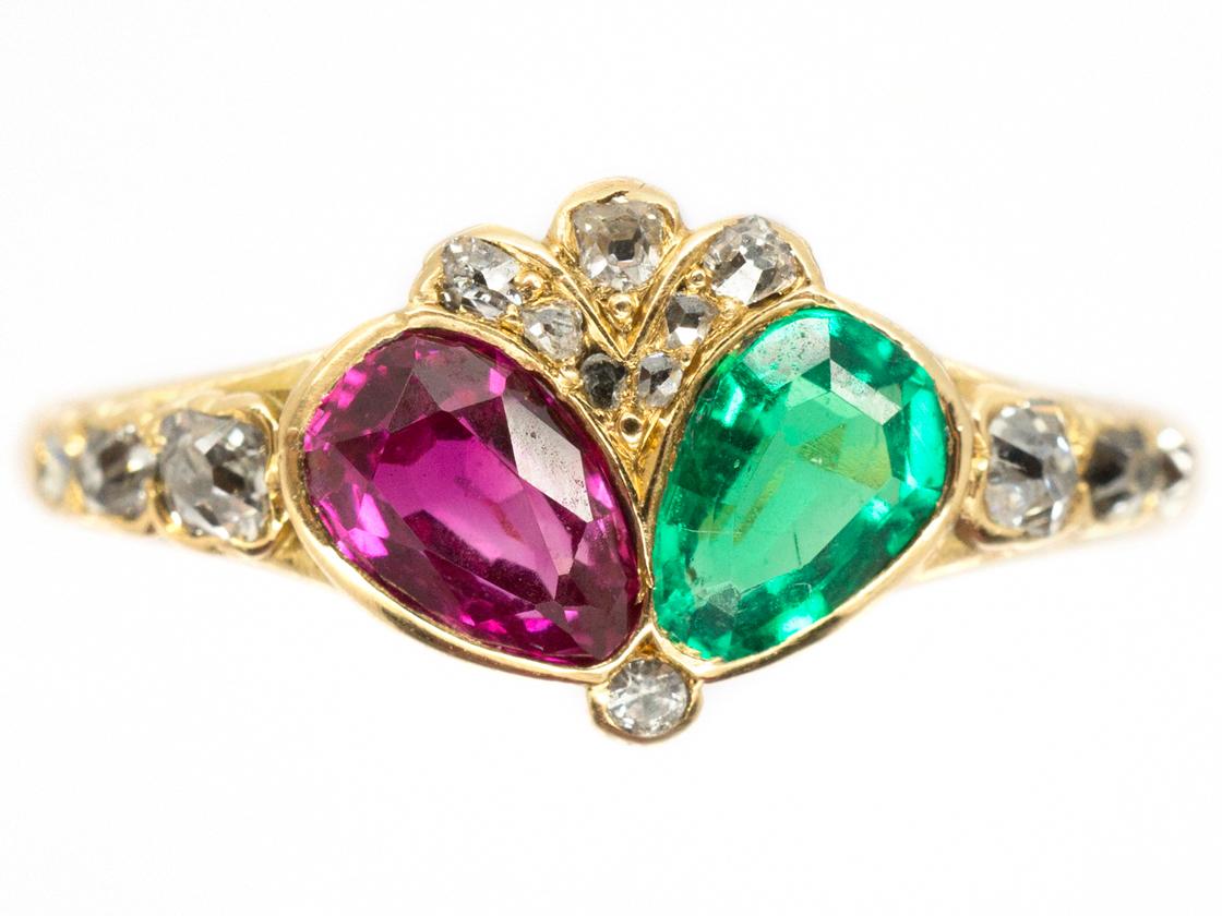 Georgian Emerald Ruby Amp Diamond Double Crowned Heart Ring