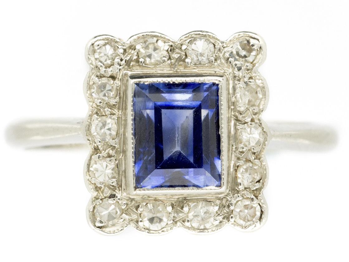art deco rectangular sapphire amp diamond ring   the antique