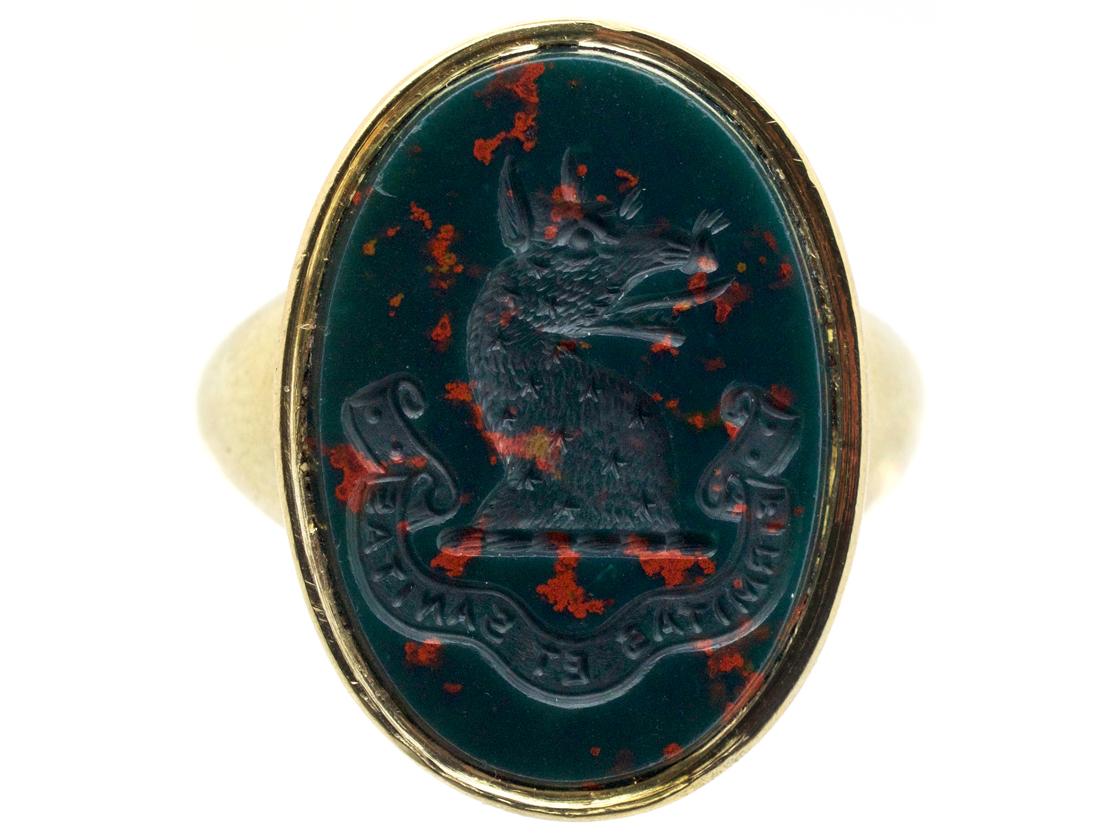 Victorian 18ct Gold Amp Bloodstone Intaglio Of A Wolf S Head