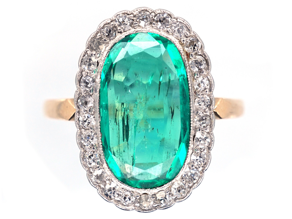 Edwardian 18ct Gold Oval Emerald Amp Diamond Ring The