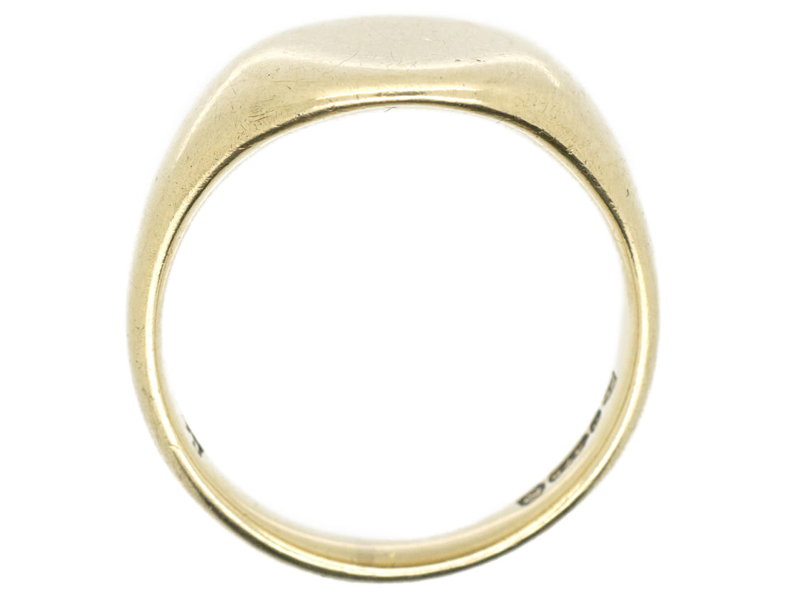 9ct Gold Plain Signet Ring The Antique Jewellery Company