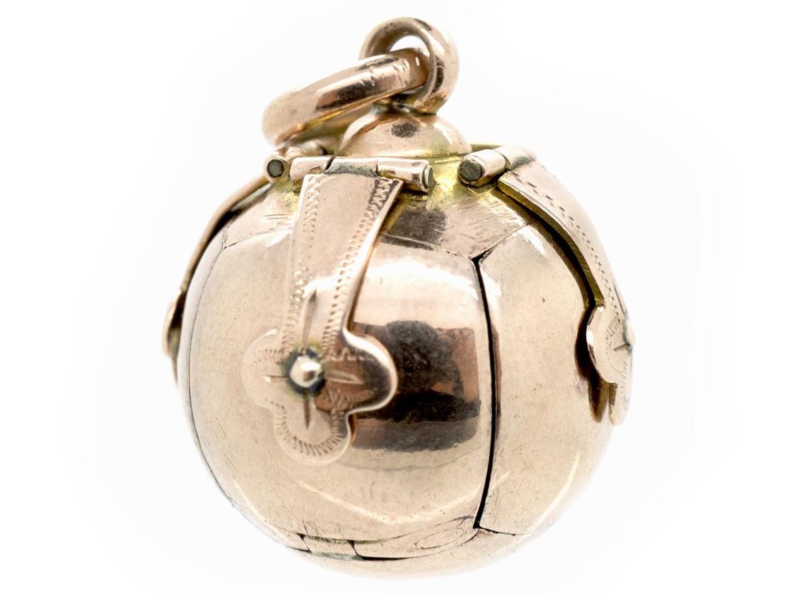 9ct Gold Amp Silver Opening Masonic Ball Pendant The