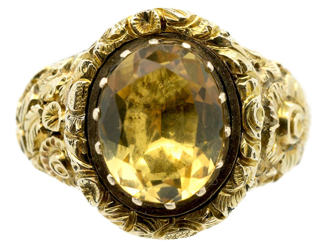 Large 18ct Gold Georgian Foiled Citrine Ring The Antique
