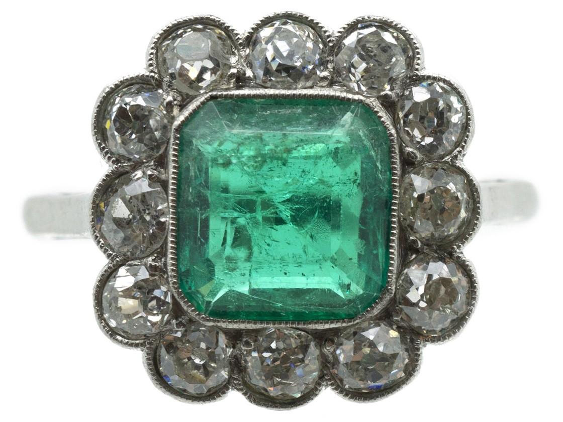 Large Platinum Square Cut Emerald Amp Diamond Ring The