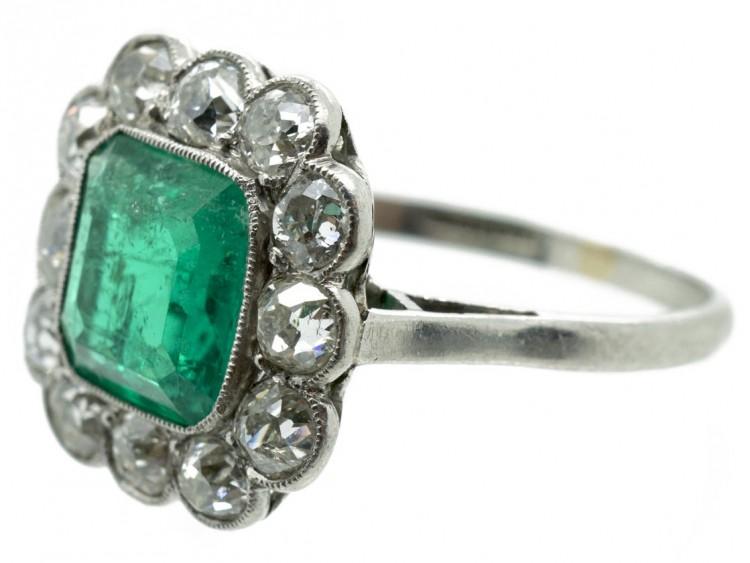large platinum square cut emerald ring the