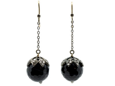 Edwardian Sardonyx & Diamond Drop Earrings