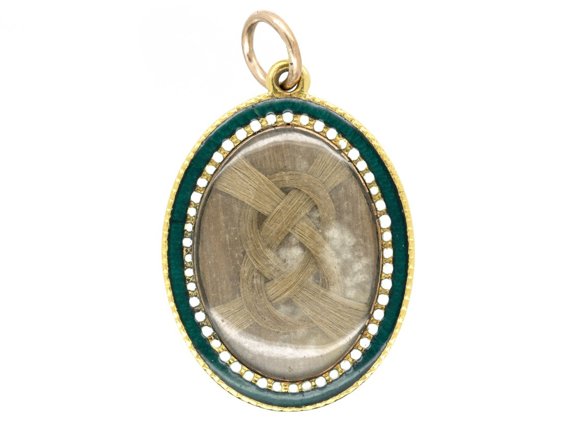 Georgian Gold Blue White Amp Green Enamel Pendant With