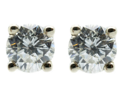 18ct White Gold Diamond Solitaire Earrings