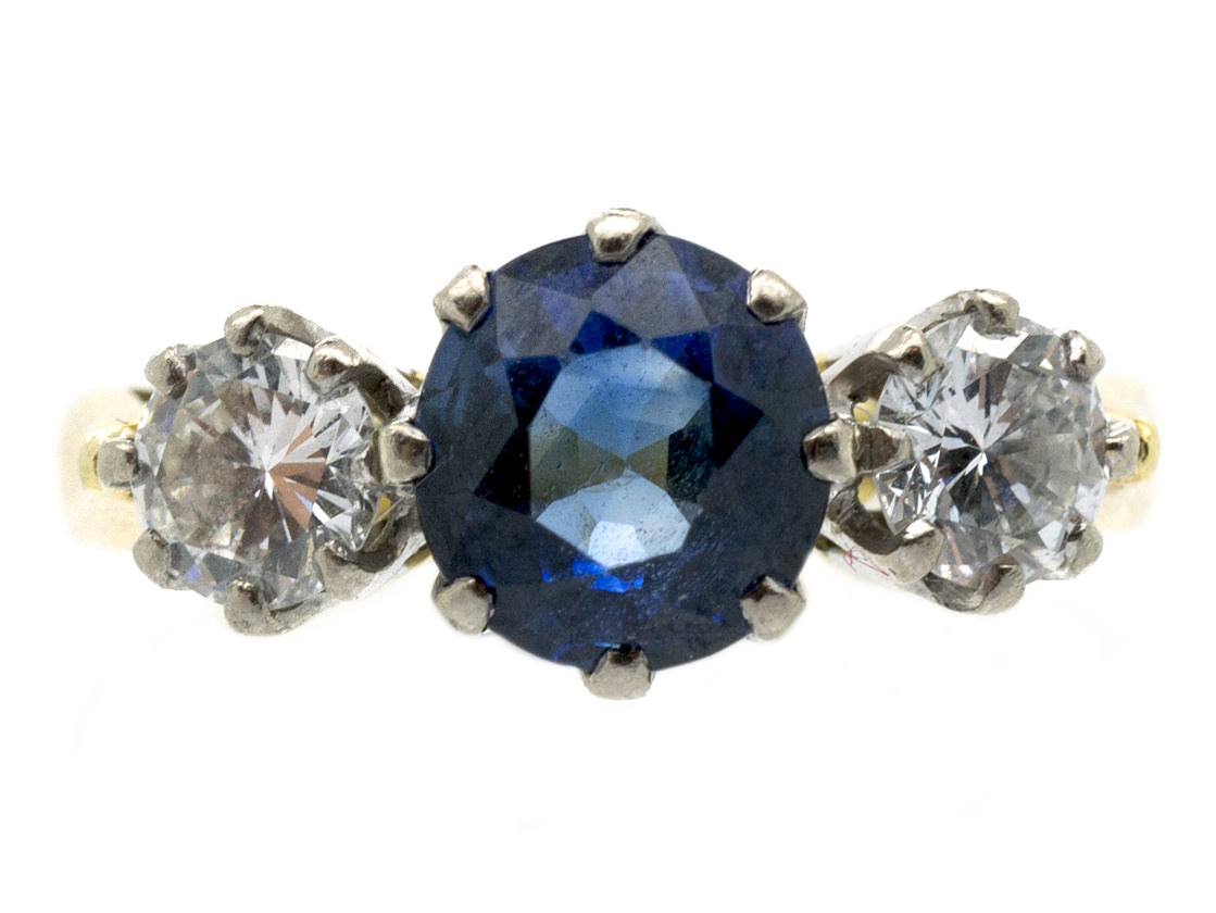 Natural Ceylon Sapphire Amp Diamond Three Stone Ring The
