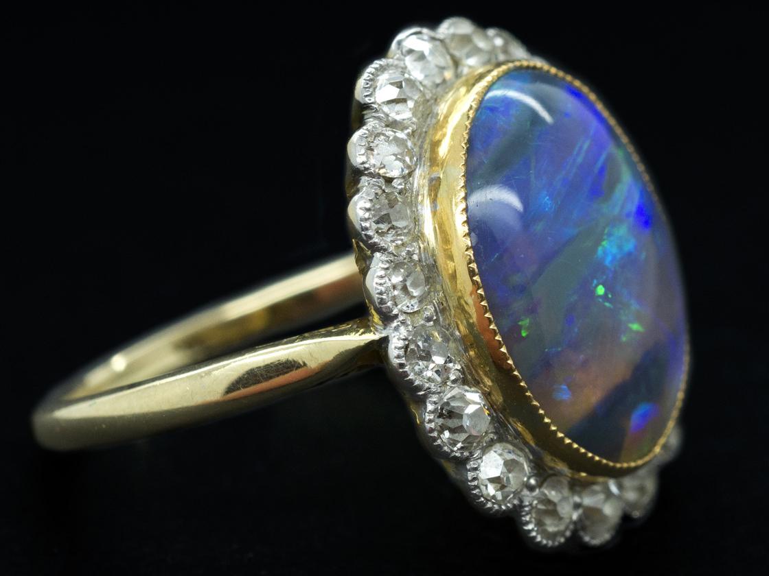 Edwardian 18ct Amp Platinum Black Opal Amp Diamond Ring The