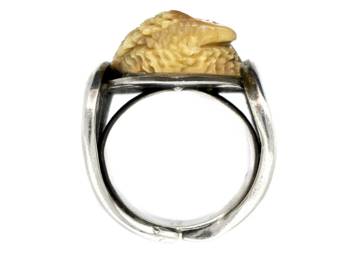 mexican silver agate quot mask eagle quot ring the antique