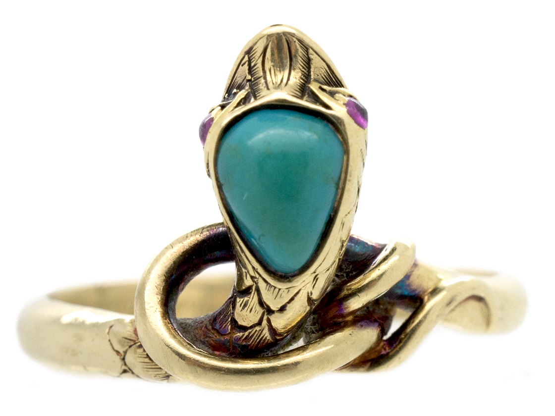 Victorian 18ct Gold Snake Ring Set With A Turquoise Amp Ruby