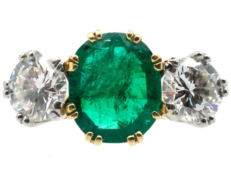 Emerald Amp Diamond Three Stone Ring The Antique Jewellery