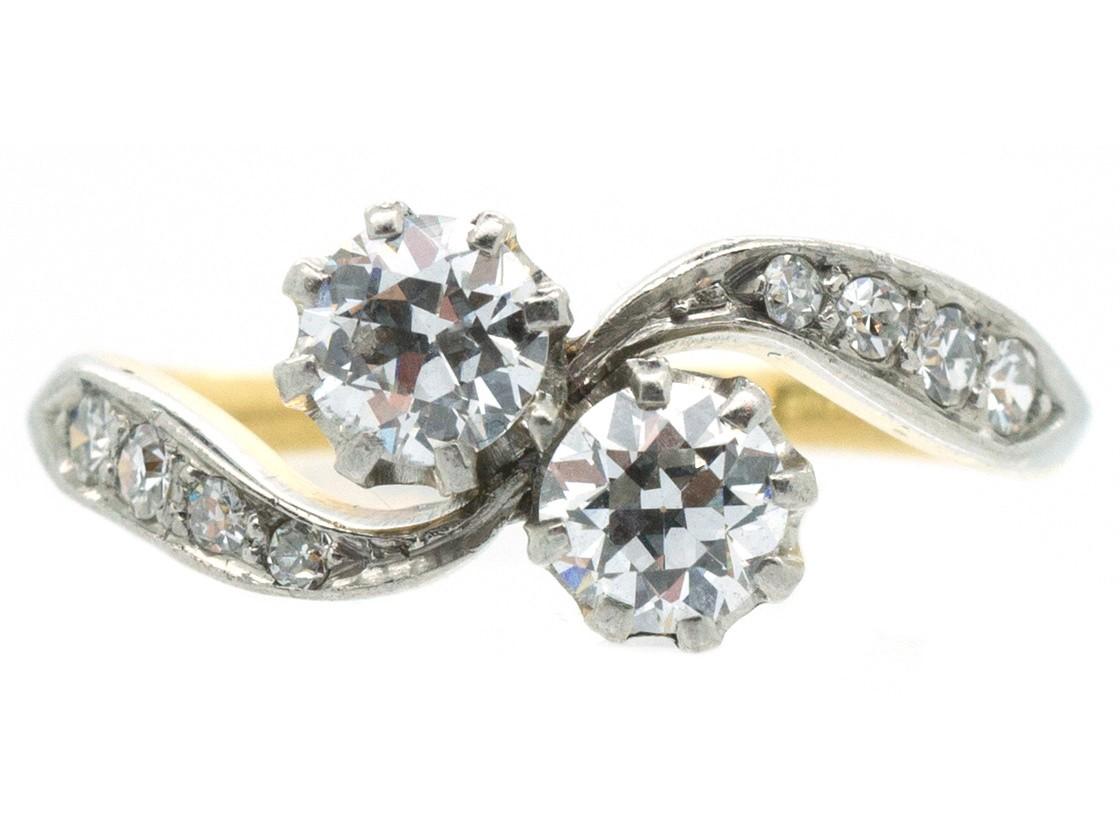 Edwardian 18ct Gold Amp Platinum Two Stone Diamond Twist